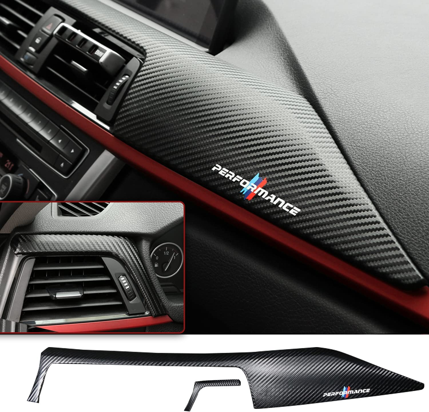 Car Carbon Fiber Texture Interior Steering Wheel Panel Frame Cover Trim Fit for BMW 3 Series F30 F32 F34 2013 2014 2015 Carbon texture A