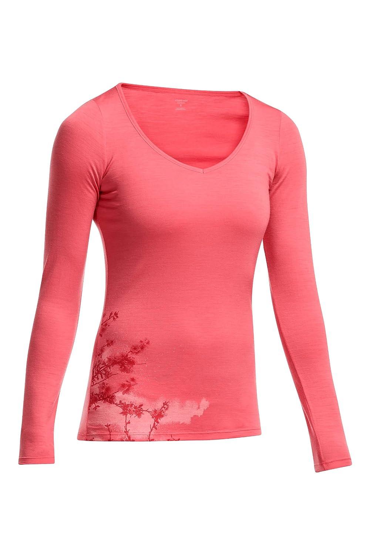 Icebreaker Damen Shirt Unterhemd Langarm Siren Longsleeve Sweetheart Cherry Blossom