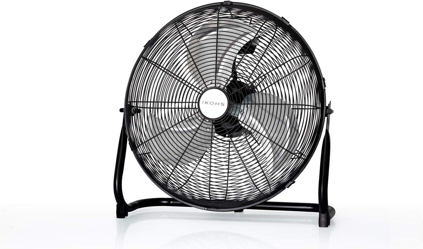 IKOHS EOLUS Turbo - Ventilador de Suelo Industrial, 110 W, Potente Flujo de Aire, Ligero, Ajustable, con Patas Antideslizantes, 3 hélices, 3 velocidades, Motor Cobre (Negro)