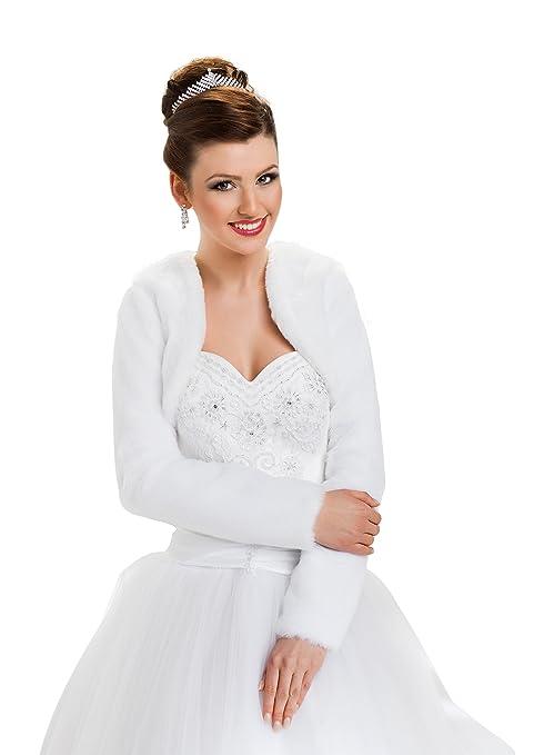 OssaFashion Hochzeit Jacke Brautjäckchen Leichte Hochzeitsjacke für die Braut Bolero aus künstlichem Pelz mit voll länger Ärm