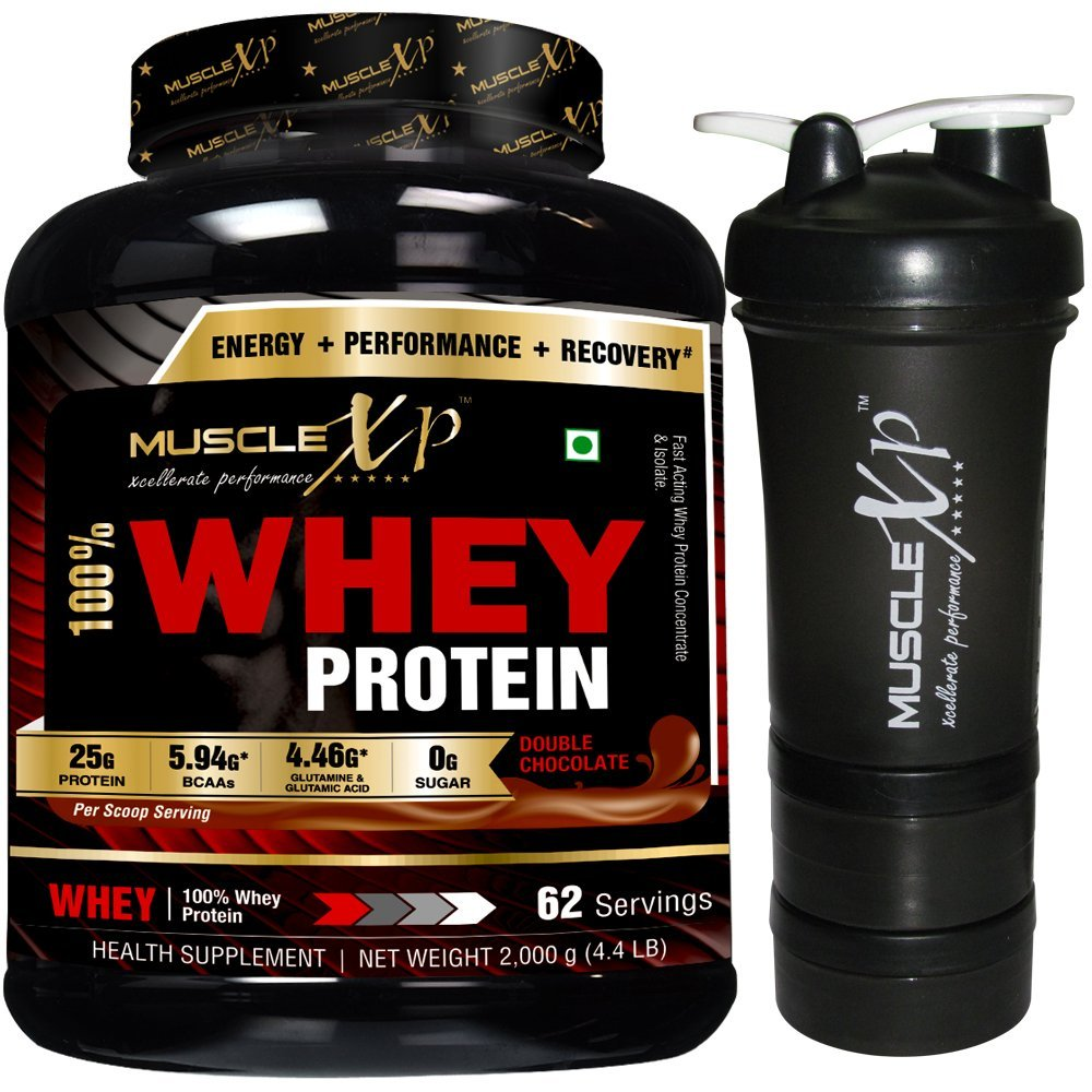 MuscleXP 100% Whey Protein - 2Kg (4.4 lbs), Double Rich Chocolate with Shaker - Design 11