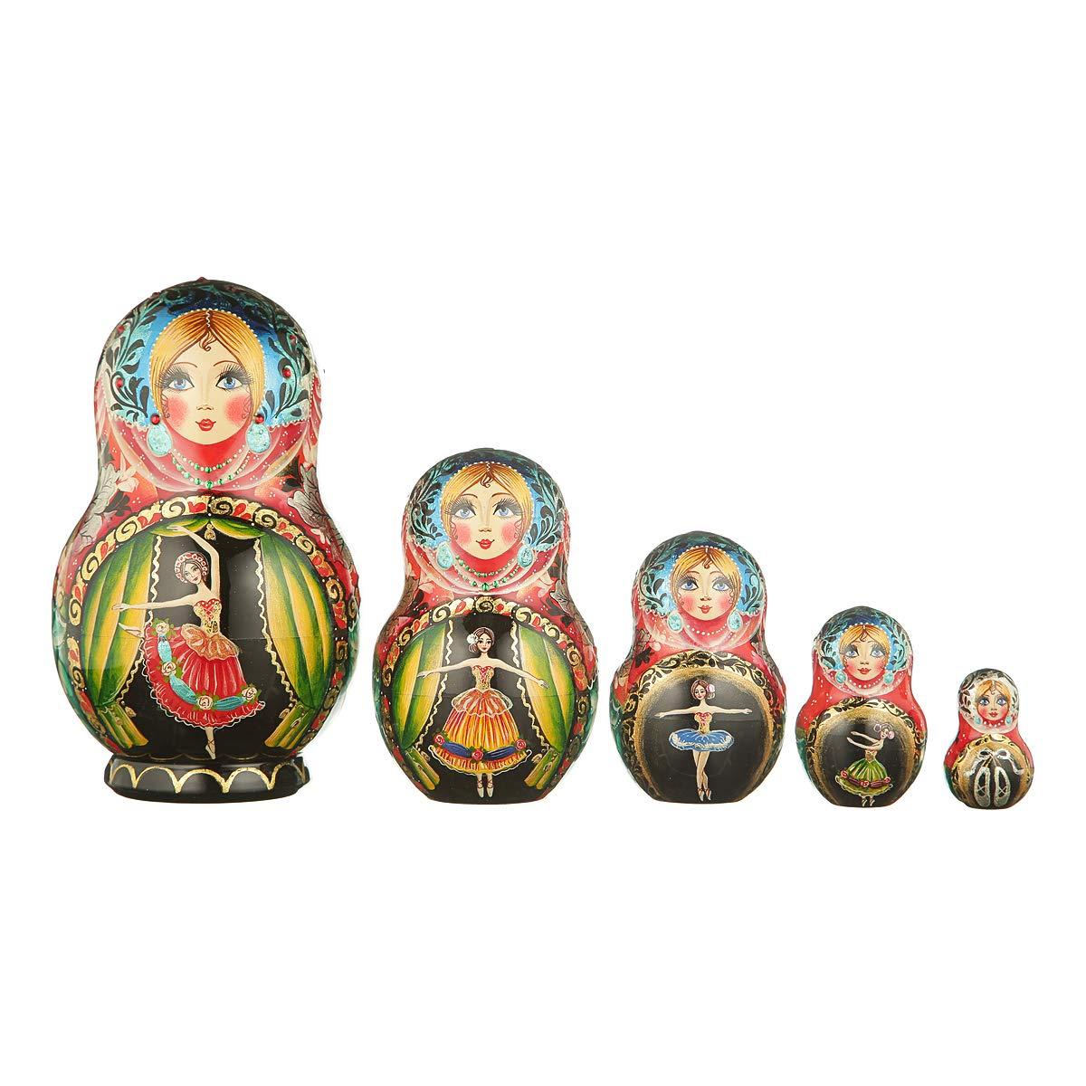 danila-souvenirs Russian Wooden Nesting Dolls Hand Painted Matryoshka 5 pcs Set Ballet 6.5'' by danila-souvenirs (Image #1)