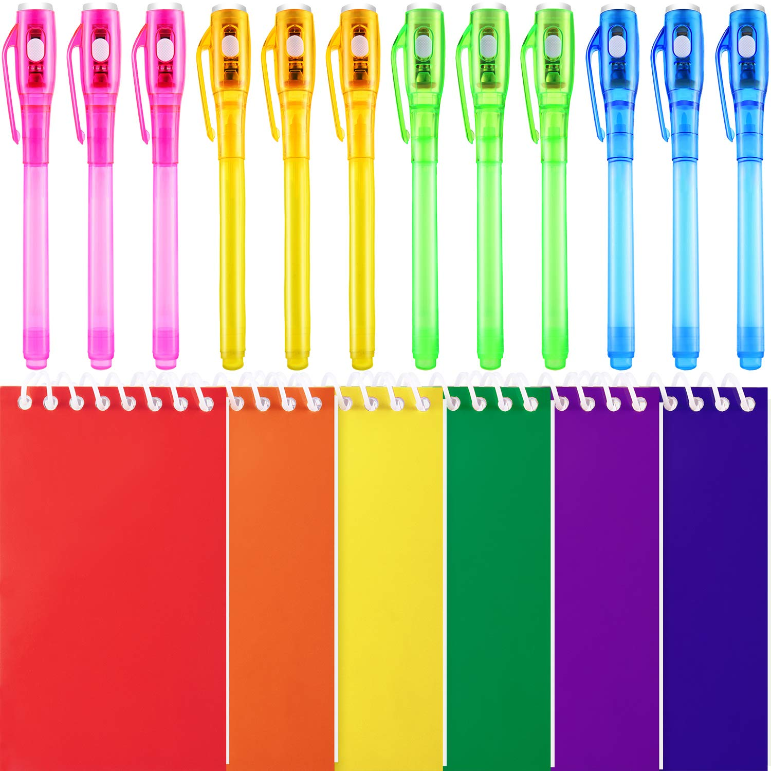 12 Pieces Invisible Ink Pen with UV Light and 6 Pieces Mini Memo Notepads for Birthday Party Gift Favors