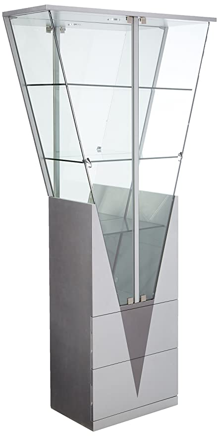 Good Chintaly Imports Triangular Curio Cabinet With Mirrored Interior,  Clear/White