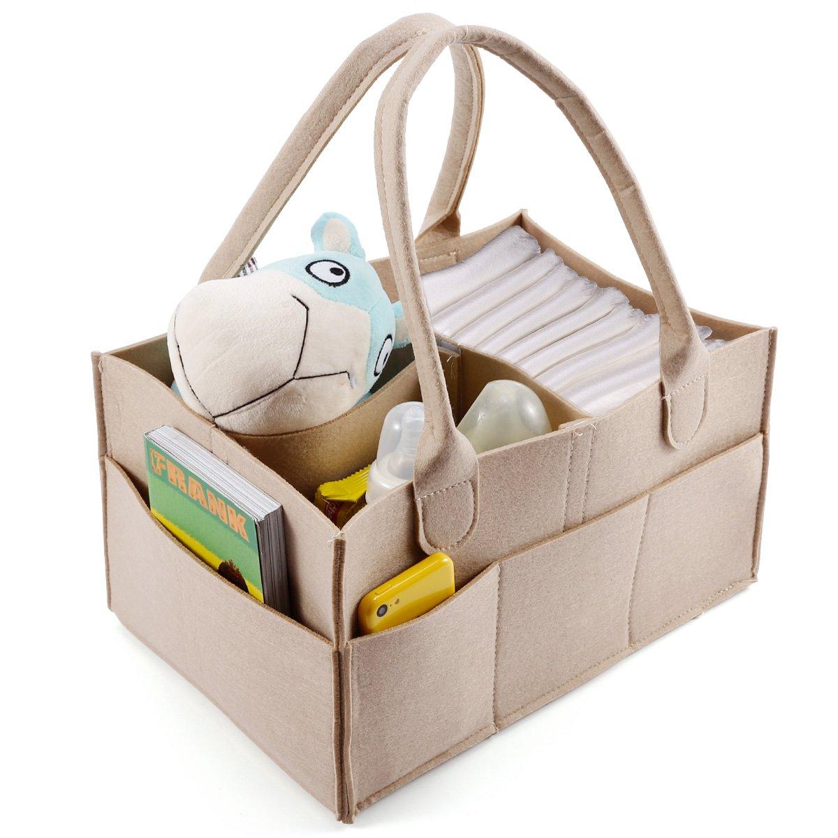 Anladia 3 Compartments Baby Diaper Caddy Nursery Storage Bin Infant Wipes Bag Nappy Organizer Basket