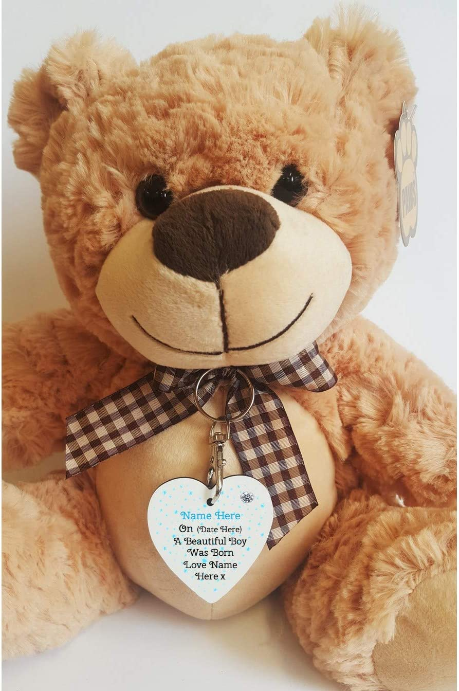 Personalised Newborn Baby Boy 10 Teddy Bear with Heart Tag Personalised details required