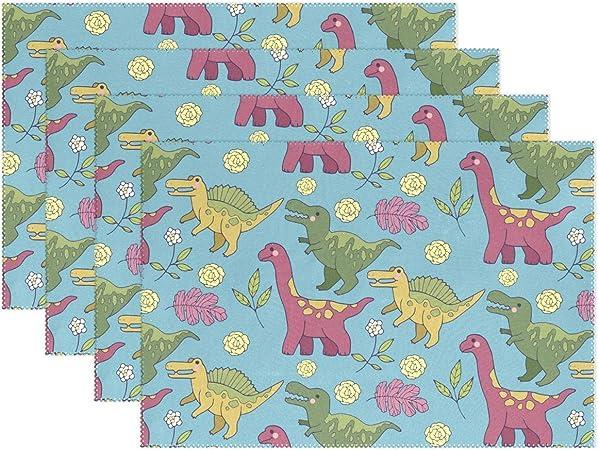 LVOE TTL Juego de 6 manteles Individuales Antideslizantes para Mesa de Comedor de Dinosaurios Tapetes Lavables para Cocina Decoración de Mesa de Comedor: Amazon.es: Hogar