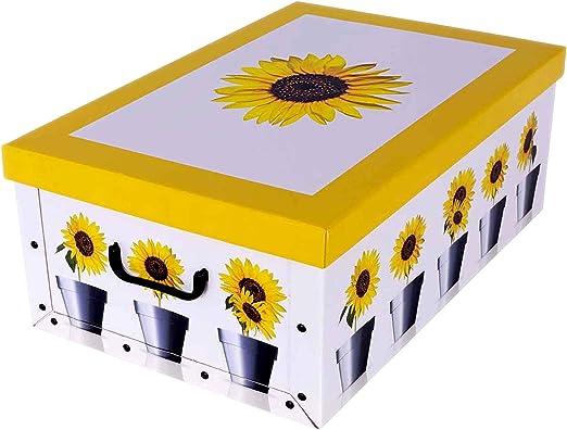 Caja para guardar ropa de cartón con diseño de girasol amarillo ...