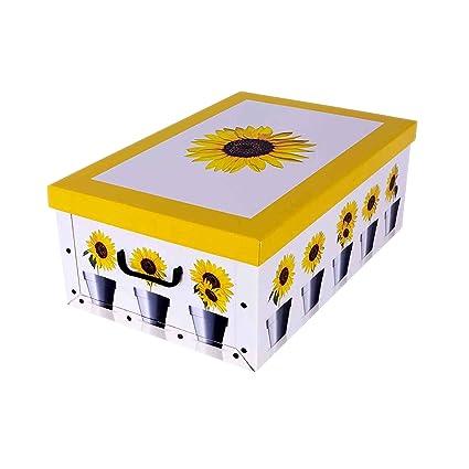 Caja para guardar ropa de cartón con diseño de girasol amarillo: