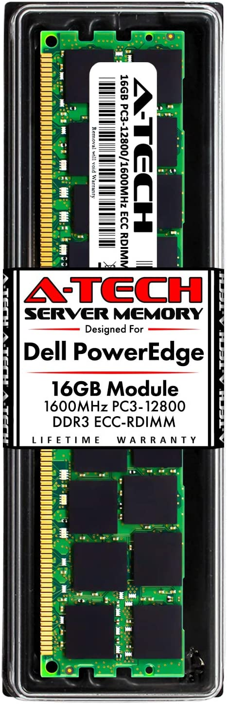 A-Tech 16GB RAM for Dell PowerEdge T320, T420, T620 Tower Servers | DDR3 1600MHz ECC-RDIMM PC3-12800 2Rx4 1.5V 240-Pin ECC Registered DIMM Server Memory Upgrade Module