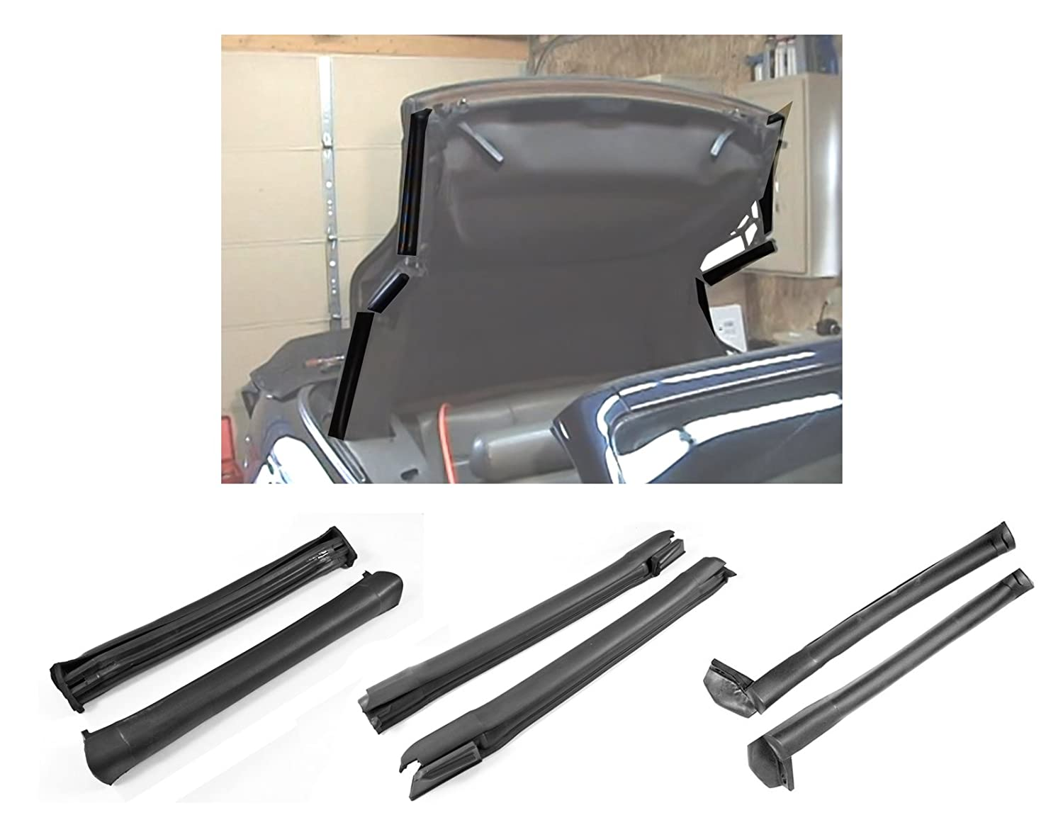 1994-2000 Mustang Convertible Front Center & Rear Side Rail Weatherstrip Seals Daniel Carpenter Reproductions