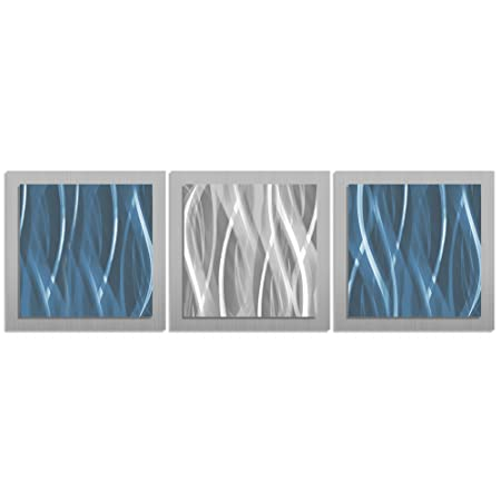 Amazon com turquoise teal blue wall art turquoise essence 38x12 in metal artwork simple contemporary art design ideal for modern feng shui