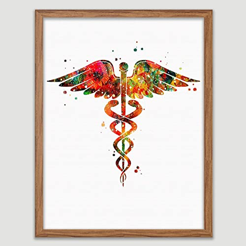 Amazon Com Caduceus Medical Symbol Watercolor Doctor Office Art