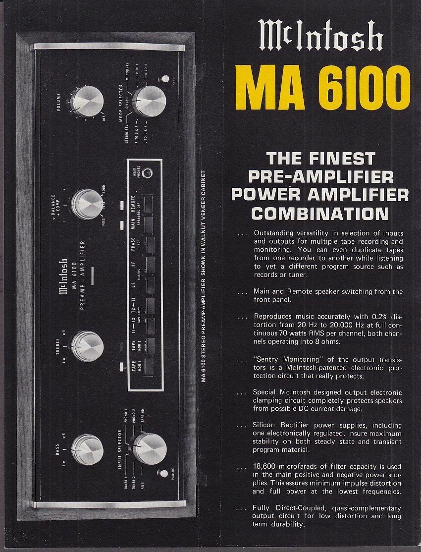 Mcintosh Ma 6100 Preamplifier Power Amplifier Sales Folder At High Schematic Diagram 600 Watt Quasi Amazons Entertainment Collectibles Store