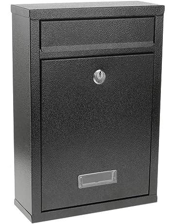 PrimeMatik - Buzón metálico para Cartas y Correo Postal de Color Negro 215 x 82 x