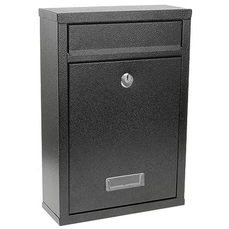PrimeMatik - Buzón metálico para Cartas y Correo Postal de Color Negro 215 x 82 x 315 mm