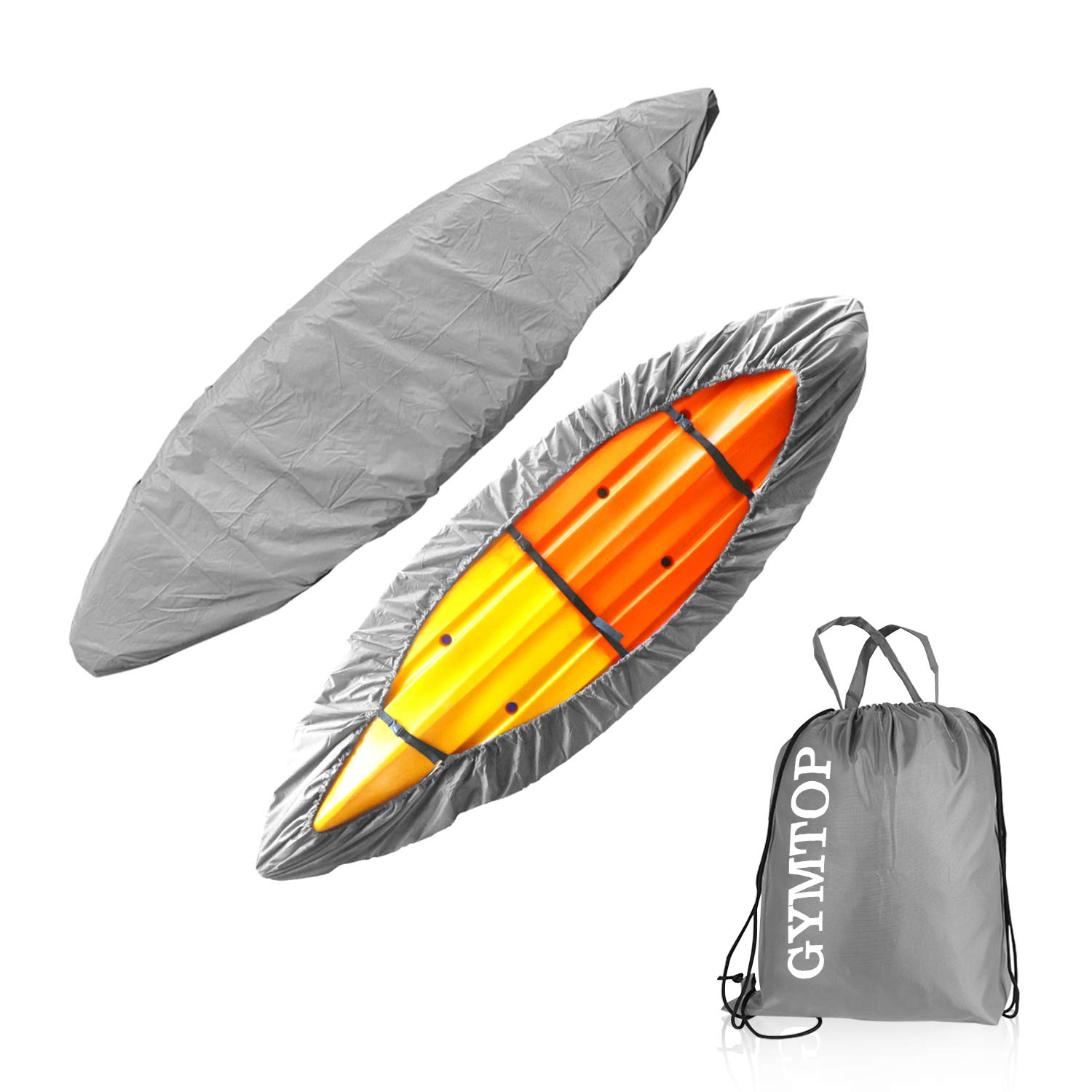 GYMTOP 7.8-18ft Waterproof Kayak Canoe Cover-Storage Dust Cover UV Protection Sunblock Shield for Fishing Boat/Kayak/Canoe 7 Sizes [Choose Color] (Gray(Upgraded), Suitable for 16.8-18ft Kayak) by GYMTOP