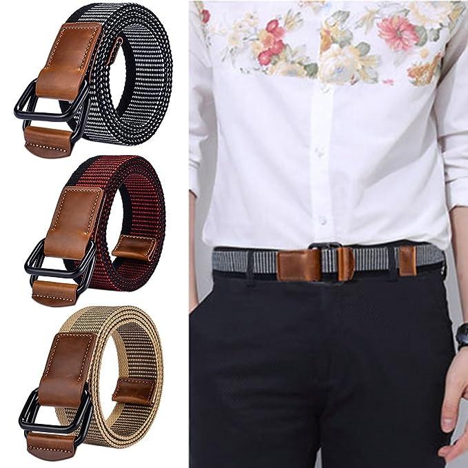 73305c7b6b8 doitsa cinturón en lienzo de doble hebilla cinturón décontractée deportiva  para hombres cinturón trenzado (para