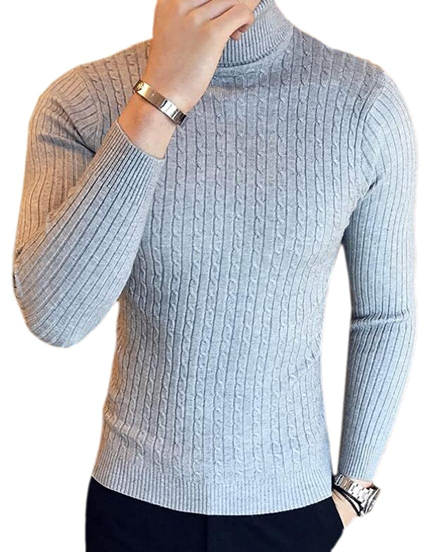 GenericMen Turtleneck Slim Fit Pullover Solid Color Long Sleeve Knitted Sweater