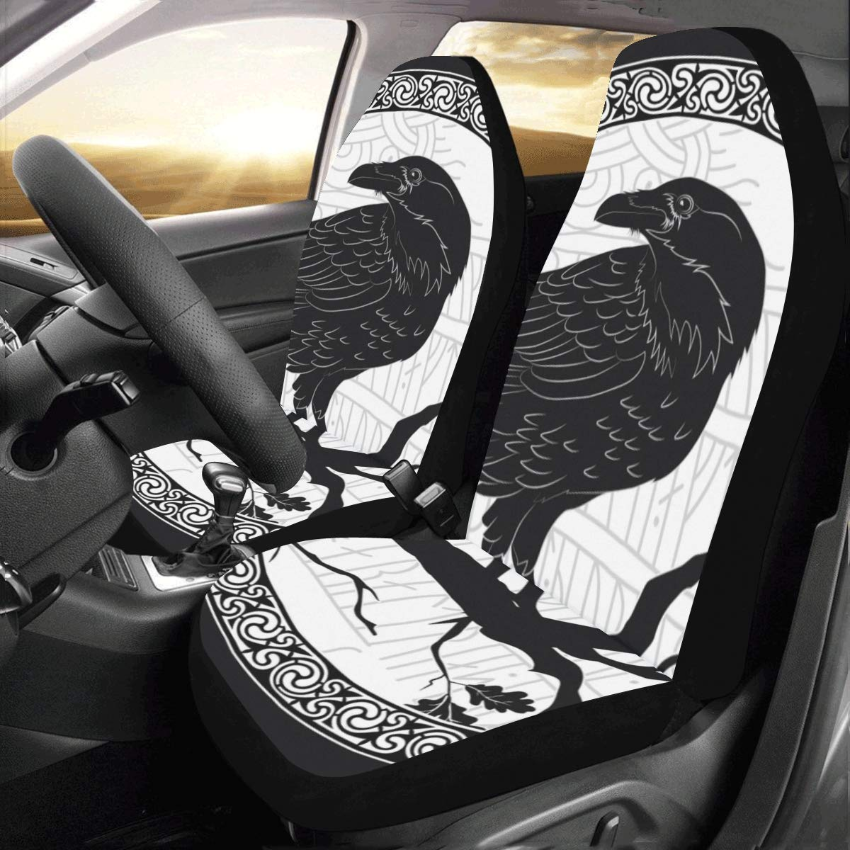 Universal Size   front  set car seat covers  black with Gothic Skull design