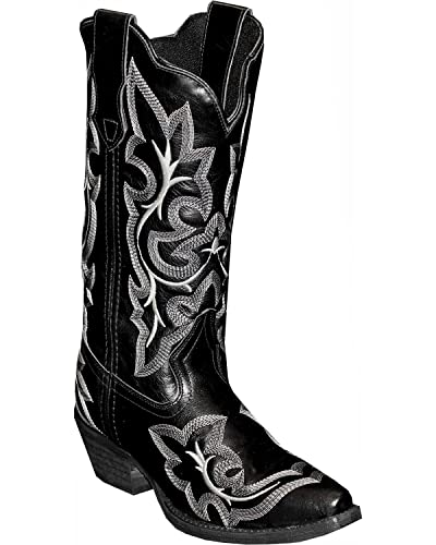 Women's Rawhide by Fancy Stitch Embroidered Western Boot Snip Toe Black 9.5 M