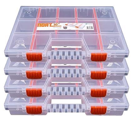 NORT16 - Juego de 4 cajas organizadoras (plástico, apilables), transparente
