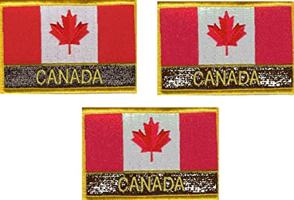 Amazon com: 3 Pack Set of Canada Rectangle Flag Patches with