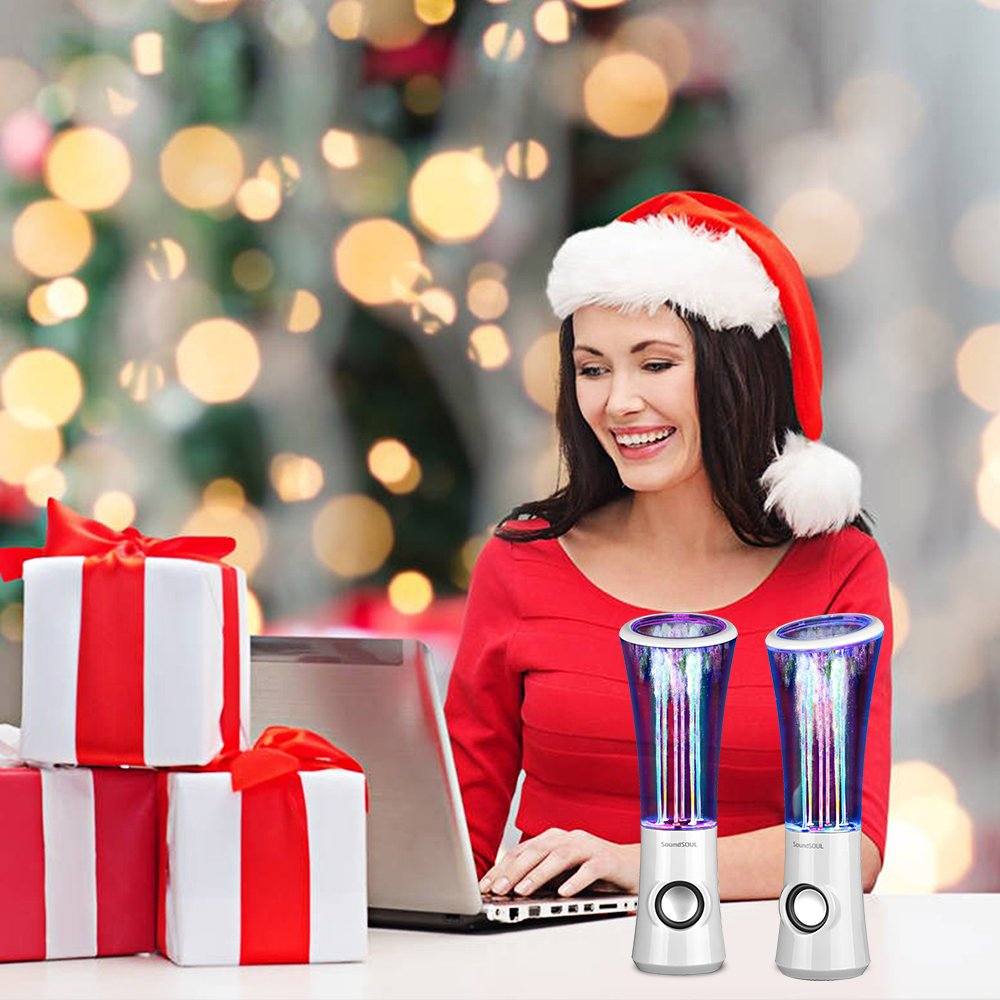 SoundSOUL Dancing Water Speakers LED Speakers Water Fountain Speakers Mini Music Amplifier(6 Colored LED Lights,Dual 3W Speakers,Perfect Birthday/Thanksgiving for Your Family) - White by SoundSOUL (Image #6)