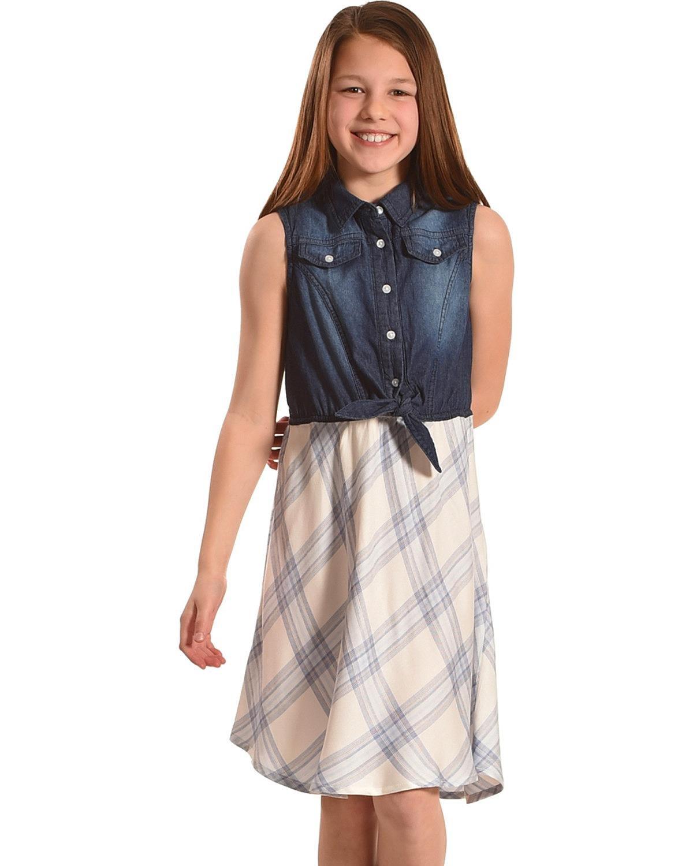 Silver Girls' Blue Sleeveless Denim Plaid Dress Blue Small