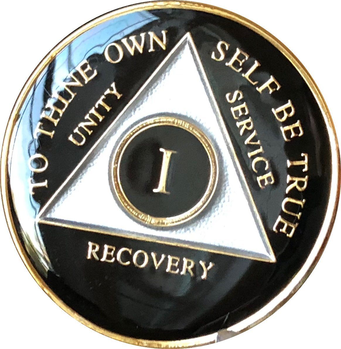 1 Year AA Medallion Glossy Black Tri-Plate Gold Plated Chip