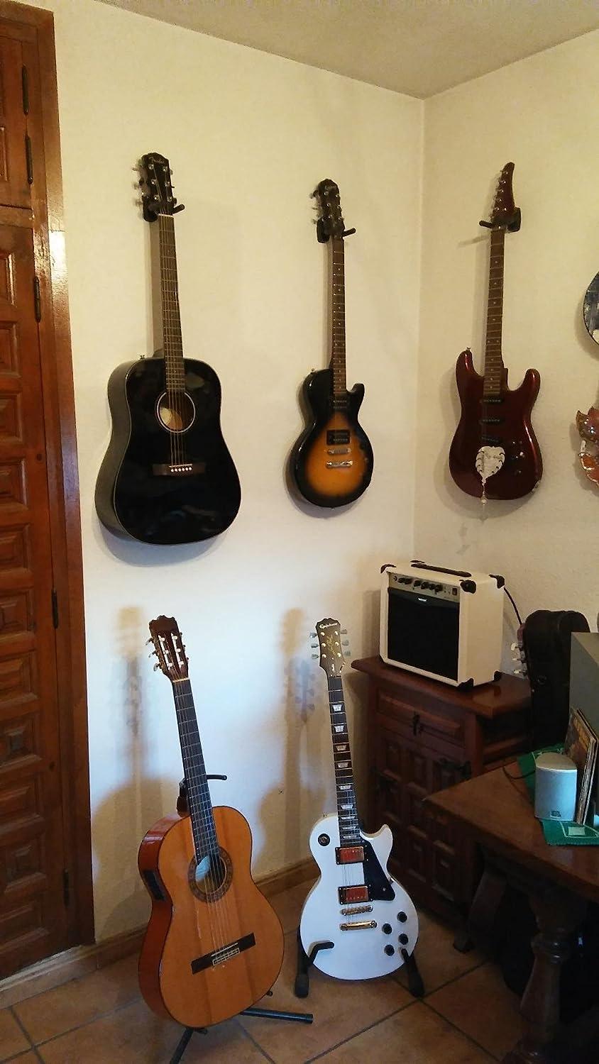 4 perchas para guitarra, soporte de pared, soporte para guitarra acústica, ukelele, bajo, mandolina banjo, soporte de pared, ganchos negros (3+8): ...