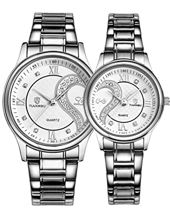 Couple Watches Quartz Waterproof Wristwatches for Lovers Pair in Package Silver Dial Stainless Steel Band