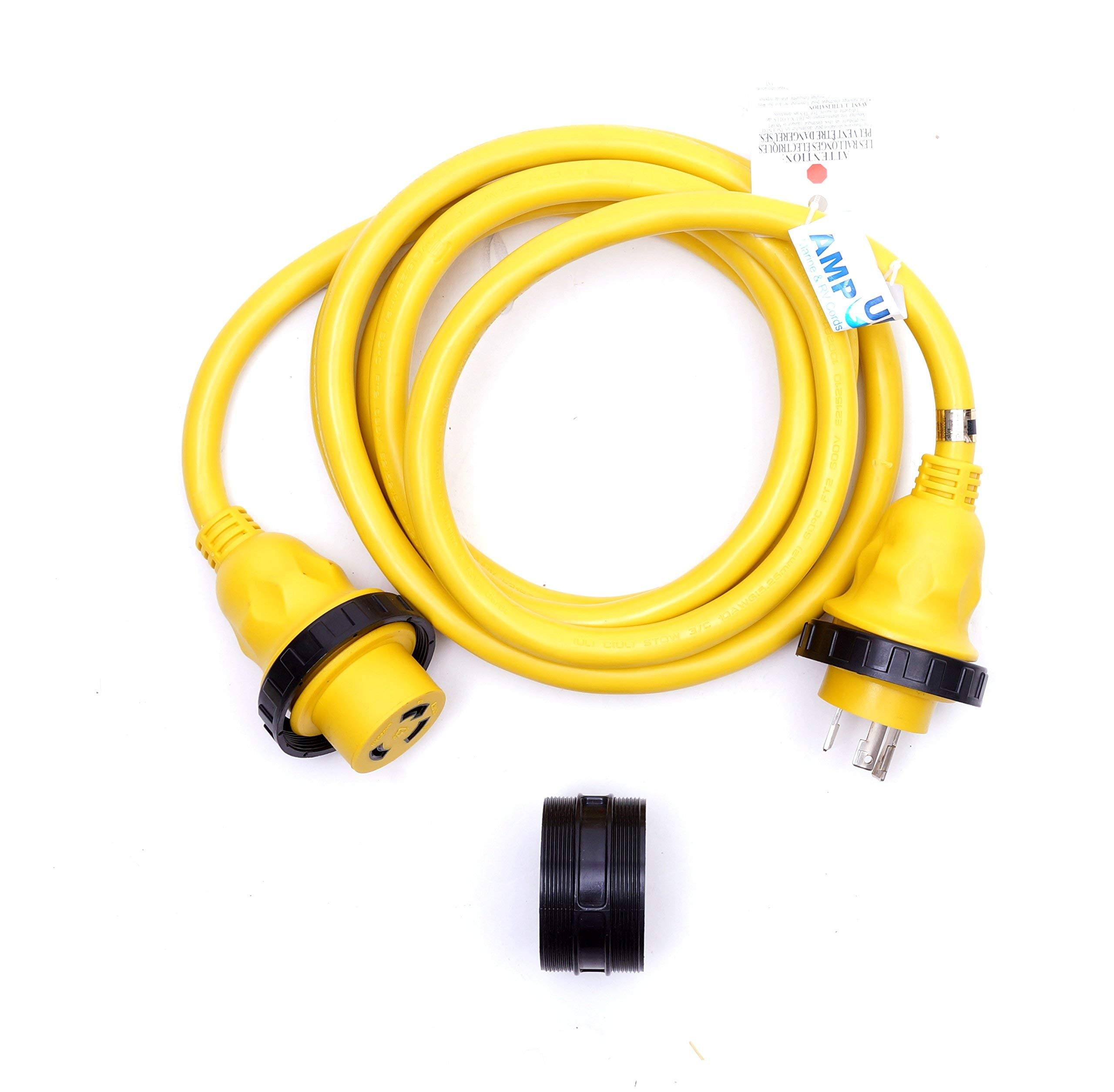 Amp Up Marine & RV Cords 125v 30 amp x 12' Marine Shore Power Boat Extension Cord, 12 ft by Amp Up