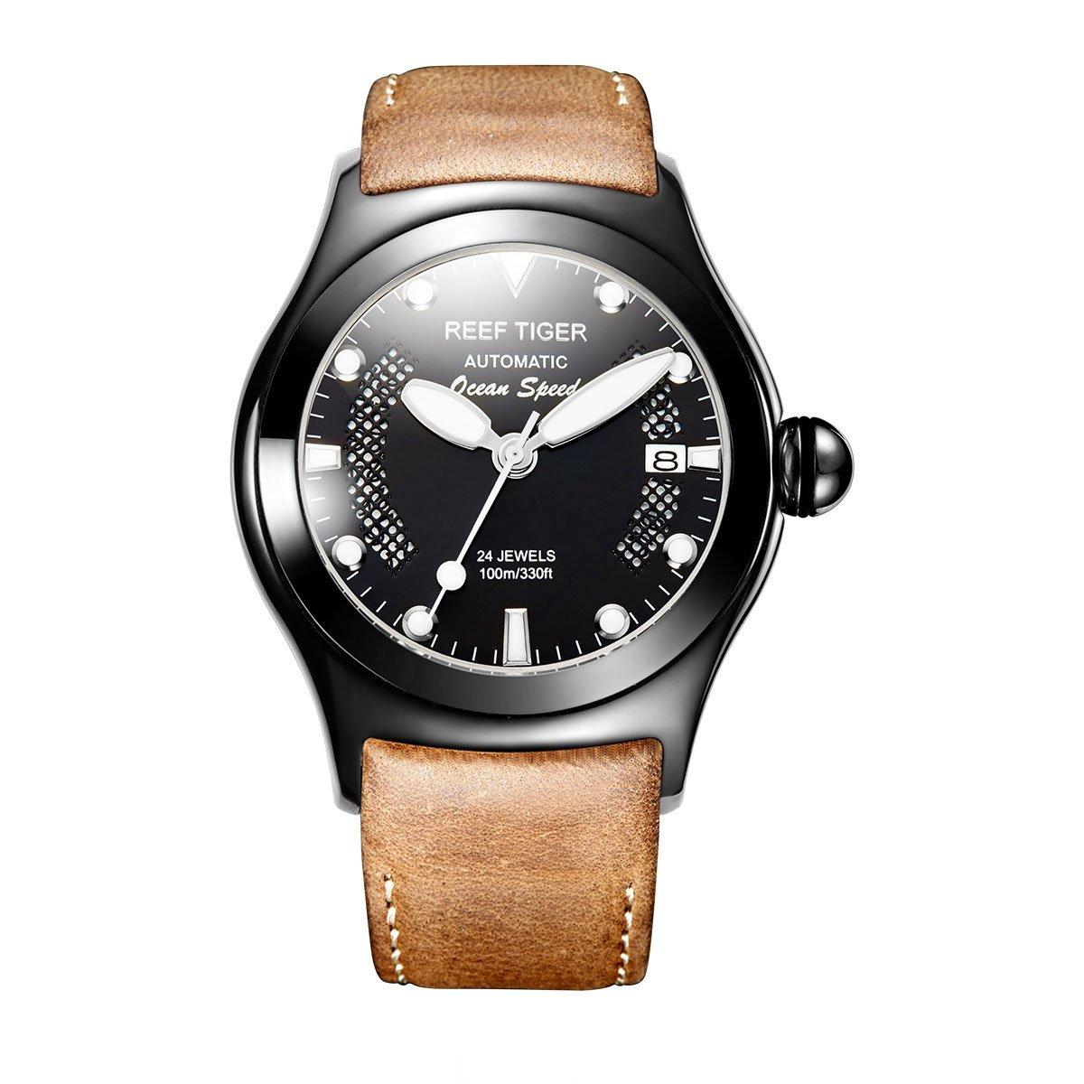 Reef Tiger Sport Watch光マーカーブラックスチール自動Watches with Date rga704 RGA704-BBBW B01FJT2XV0 RGA704-BBBW RGA704-BBBW