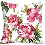 "meSleep Flowers Satin Cushion Cover - 16""x16"", Pink"