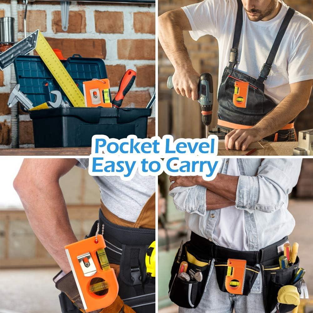 Juego de 2 herramientas peque/ñas de nivel de bolsillo con llavero de metal de dos niveles y gancho para azulejos Bestcool