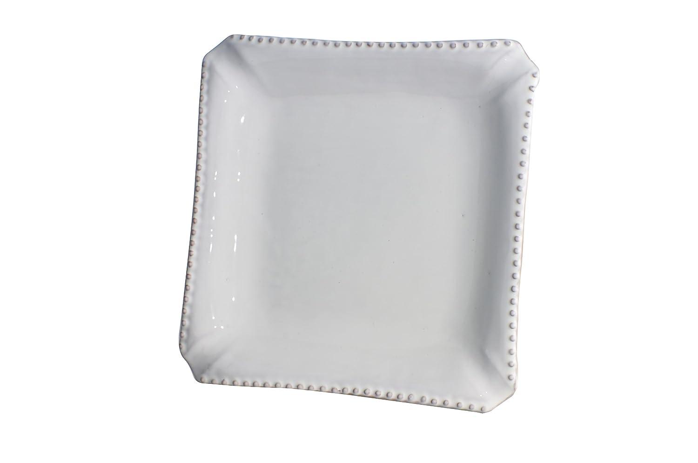 Abigails Square Charlot Ceramic Dinner Plate with Beaded Rim White Set of 4 11 x 1.5 x 11 11 x 1.5 x 11 400300
