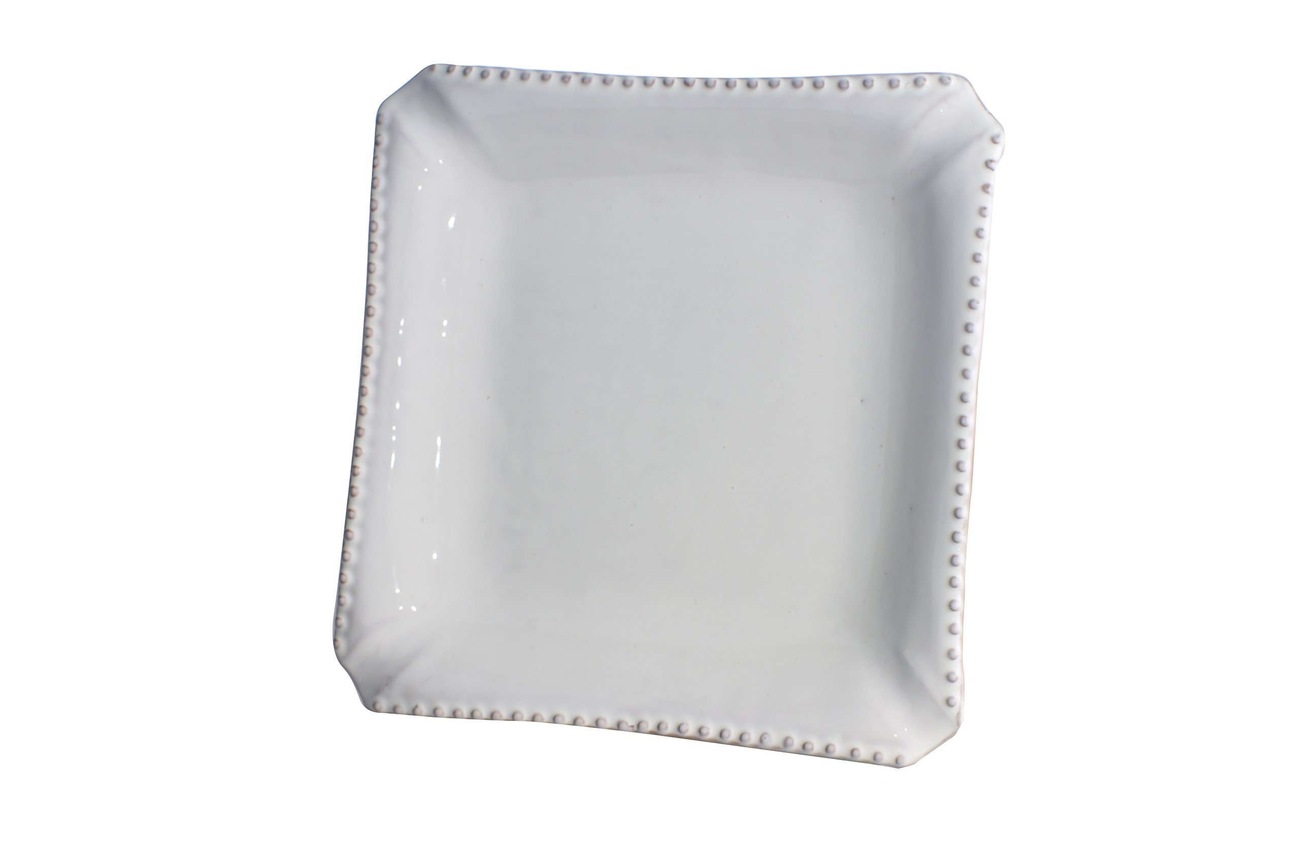 Abigails Square Charlot Ceramic Dinner Plate with Beaded Rim (Set of 4), White, 11'' x 1.5'' x 11''