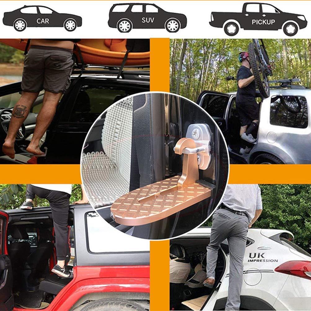Jeep pliants de support d/échelle de marchepied de v/éhicule avec fonction de marteau de s/écurit/é pour un acc/ès facile au toit de voiture costume pour voiture Marchepied de porte de voiture SUV