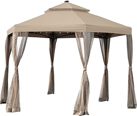 Garden Winds Living Home 10 x 12 Gazebo Replacement Canopy and Net RipLock 350