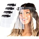 Made in USA | (4 Pack) Clear Plastic Face Shield Mask for Safety Anti Fog Protection, Reusable Washable Face Masks…