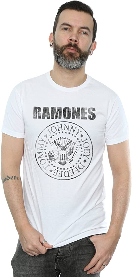 Absolute Cult Ramones Homme Distressed Presidential Seal Lav/é T-Shirt