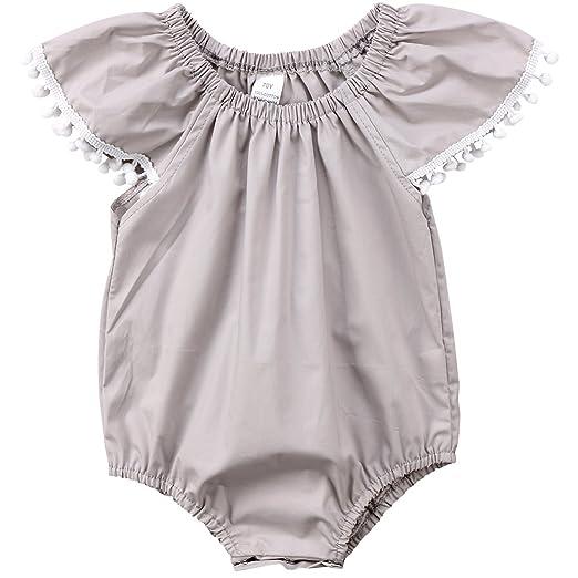 f7f19a09a18a Annvivi Newborn Baby Girls Ruffle Sleeve Romper Pompom Jumpsuits One-piece  Bodysuit (Gray