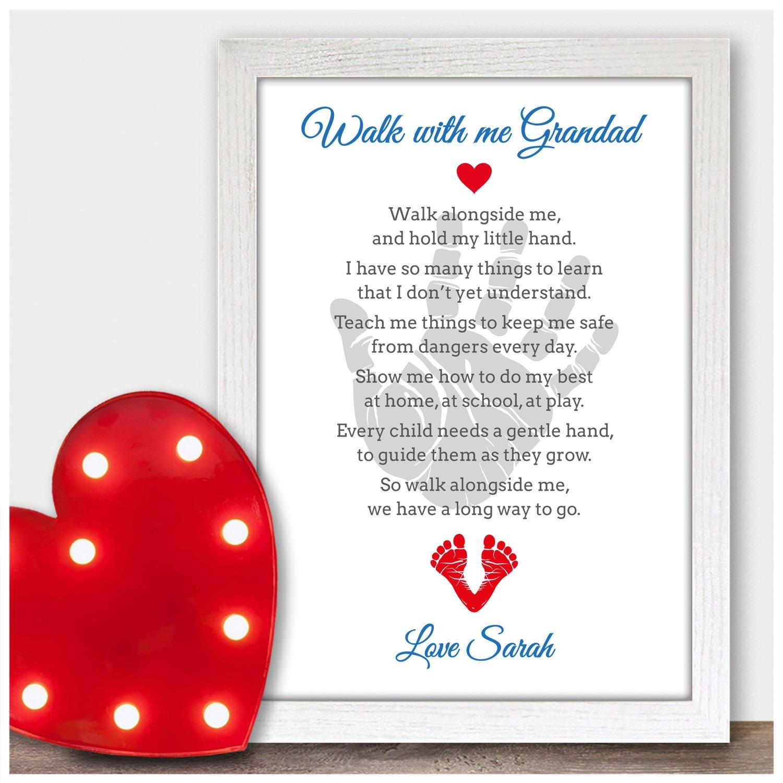Walk With Me Grandad Personalised Poem Keepsake Christmas Birthday Xmas