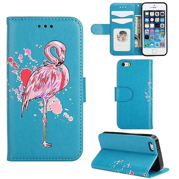 best service 96509 edfaf iPhone SE Case,XYX Flamingo Pattern PU Leather Wrist Strap Wallet Case  Women Girls Cover iPhone 5S / iPhone SE, Blue
