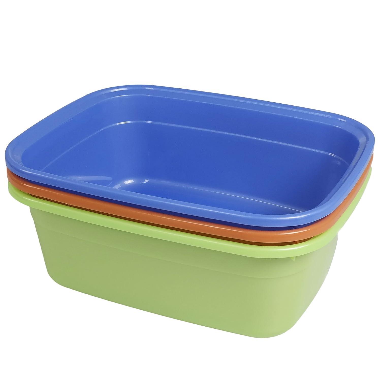Nicesh 14 Quart Plastic Non-Slip Dish Basin Pan, 3-Pack