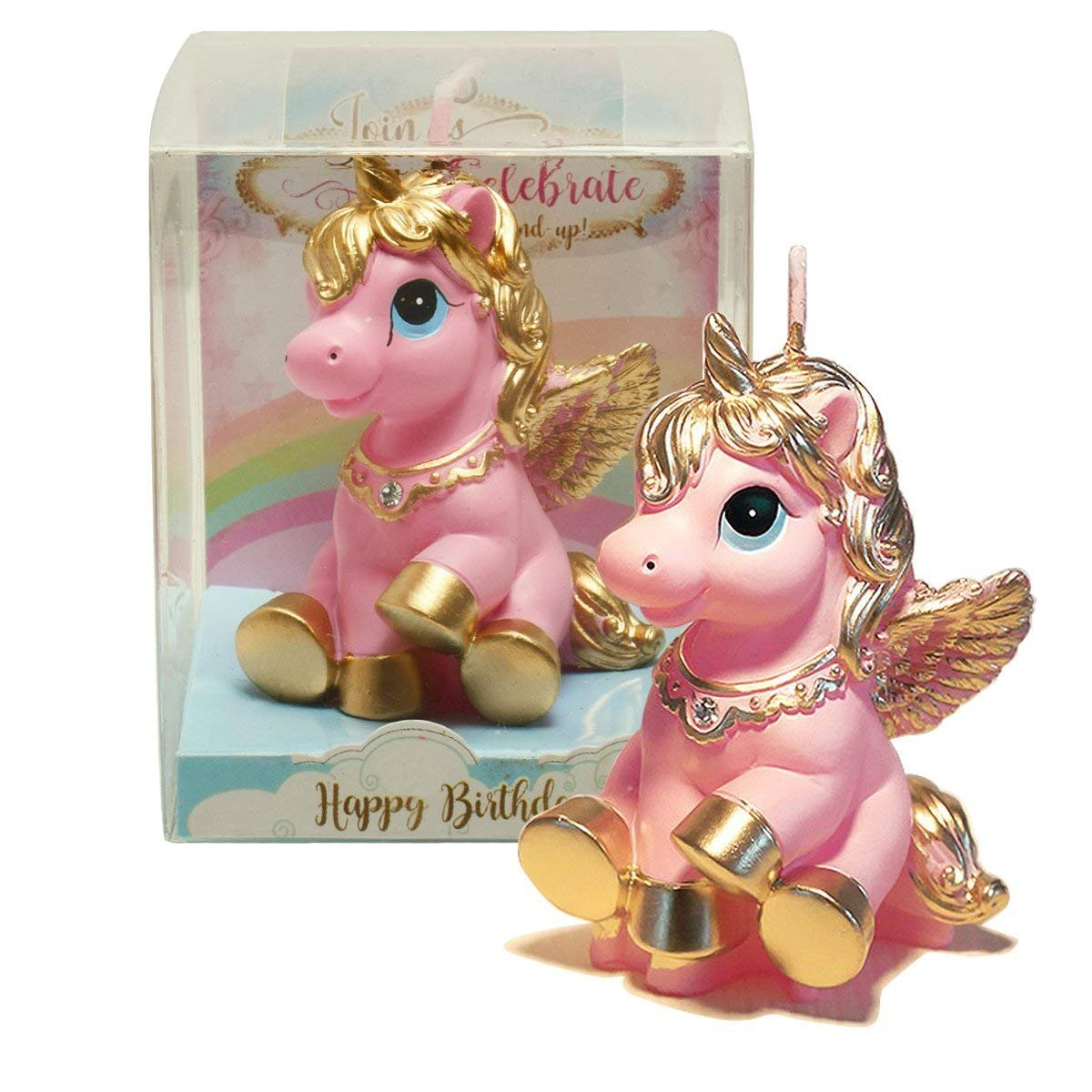 TBJSM Super Cute Gold Fly Unicorn Cake Cupcake Topper Birthday Gifts Wish Candle Wedding Party Decorations (Pink)