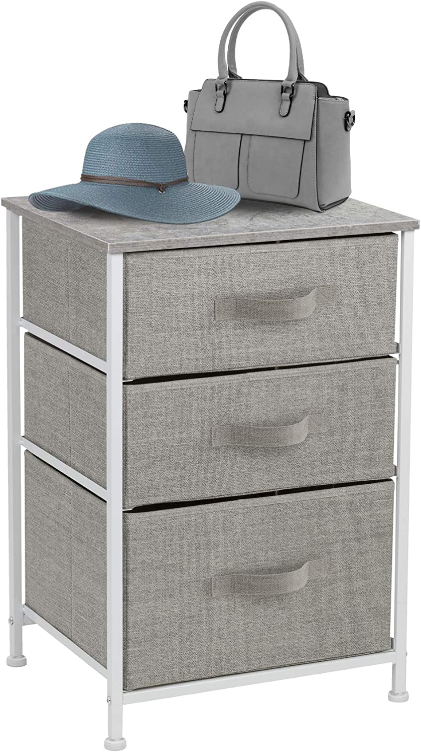 Sorbus Nightstand with 3 Drawers - Bedside Furniture & Accent End Table Chest for Home, Bedroom Accessories, Office, College Dorm, Steel Frame, Wood Top, Easy Pull Fabric Bins (Gray): Kitchen & Dining