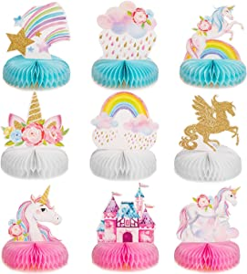 Outus 9 Pieces Rainbow Unicorn Honeycomb Centerpiece Shiny Unicorn Honeycomb Table Topper for Unicorn Honeycomb Birthday Party Decorations Supplies