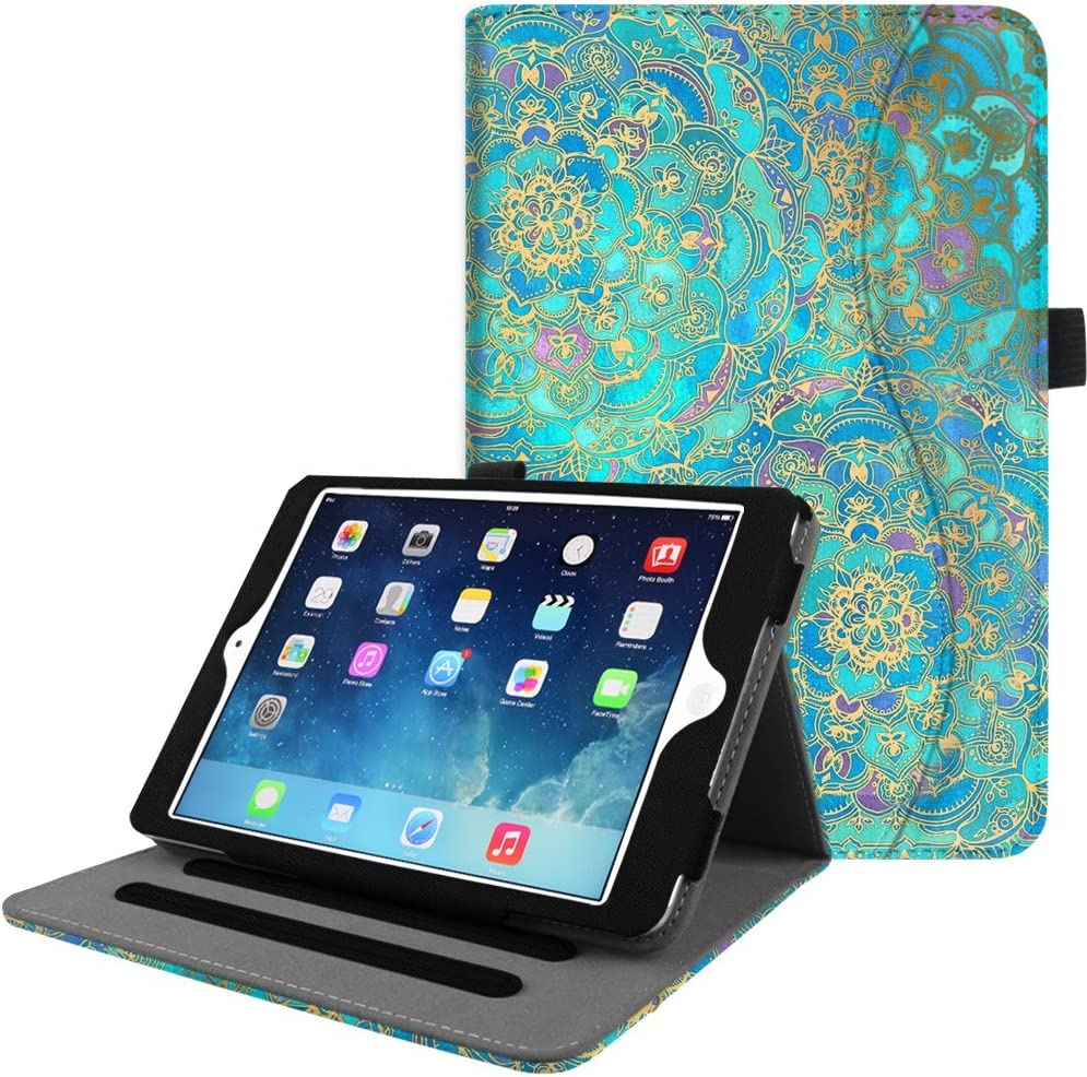 Fintie Case for iPad Mini/Mini 2 / Mini 3 [Corner Protection] - [Multi-Angle Viewing] Folio Smart Stand Protective Cover with Pocket, Auto Sleep/Wake for Apple iPad Mini 1/2 / 3, Shades of Blue